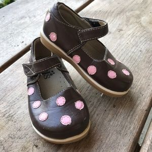 Puddle Jumpers Brown Pink Polka Dot Mary Janes 5